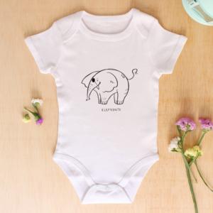 Body de bebé original con estampado mono de elefante feote