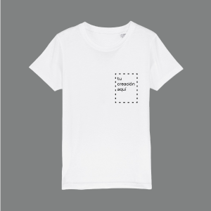 camiseta blanca personalizable estampado pequeño lateral