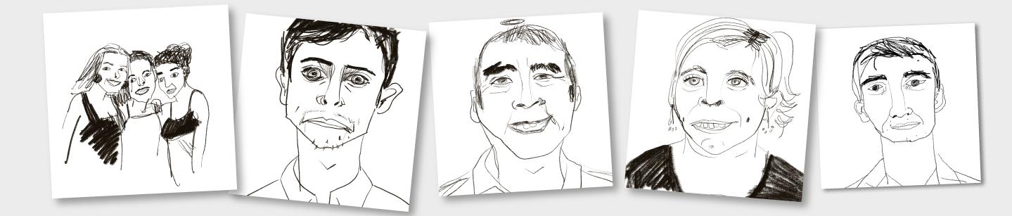 muestra de 5 retratos divertidos online feos