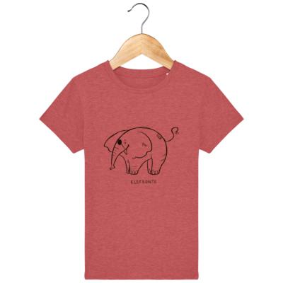 """camiseta para niños del elefeonte con un elefantito simpático dibujado y el mensaje """"elefeonte"""""""