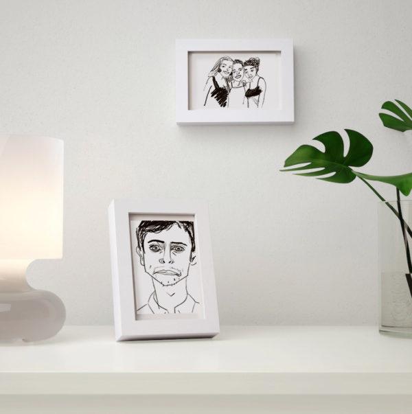 retratos personalizados con marco blanco